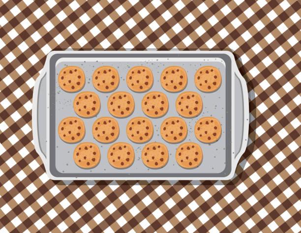 Overhead Cookie On A Baking Sheet vector art illustration