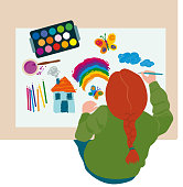 Vector Illustration of a Child drawing and painting over a big paper in a table. One little girl surrounded by pencils and brushes in the living room. Overhead point of view. Draft coloured drawings of a child.