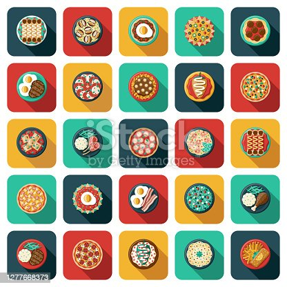 A set of different meals, from an overhead view. File is built in the CMYK color space for optimal printing. Color swatches are global so it's easy to edit and change the colors.