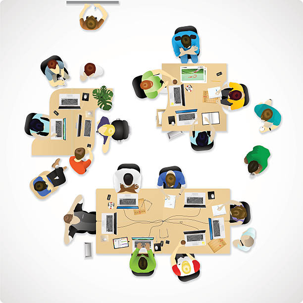 overhead büro oder agentur - arbeitsvermittlung stock-grafiken, -clipart, -cartoons und -symbole