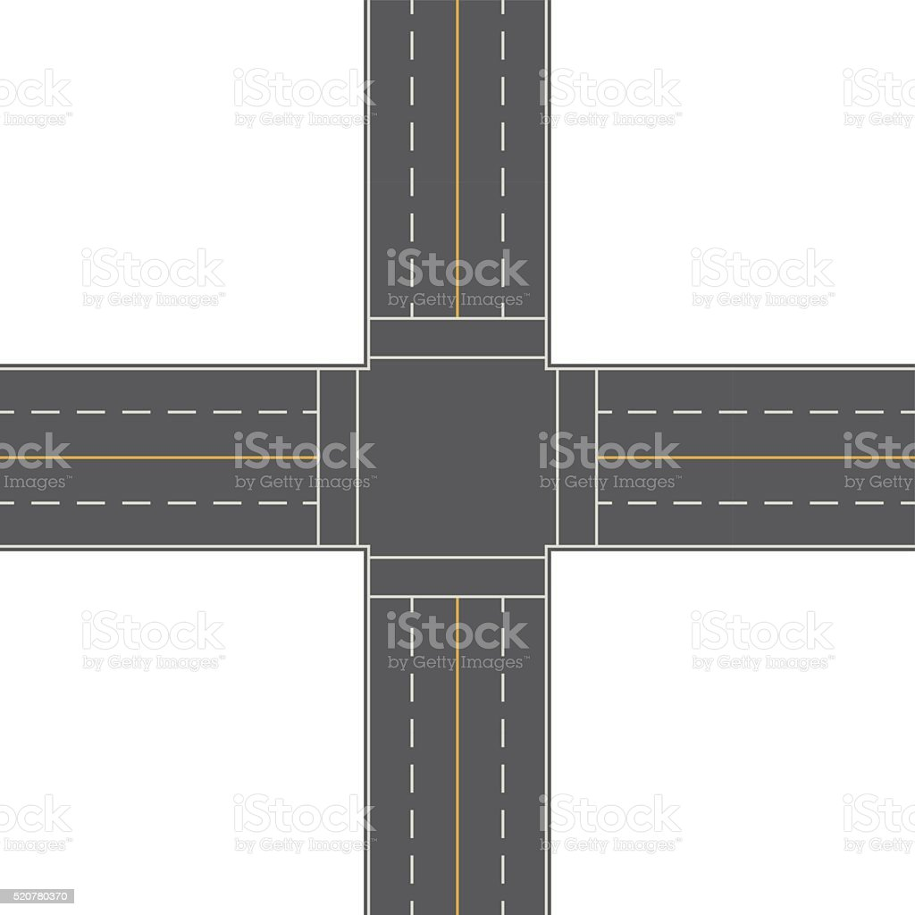 Overhead Perspective View of a 4-Way Traffic Intersection vector art illustration