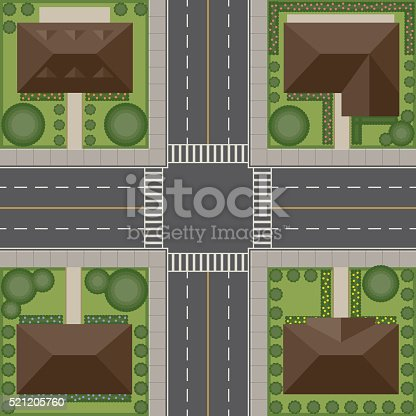 An overhead viewpoint looking down on a traffic intersection in a residential neighbourhood. Download includes AI10 EPS and a high resolution RGB JPEG.