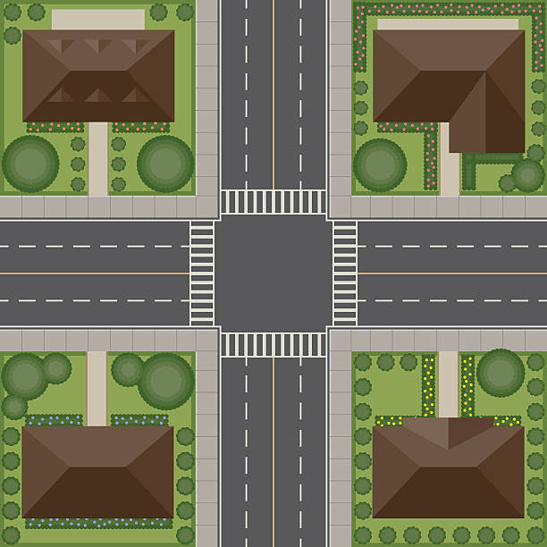 stockillustraties, clipart, cartoons en iconen met overhead perspective view of a residential traffic intersection - garden house