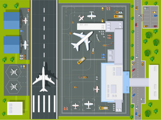 Overhead   point of view airport Overhead   point of view airport with all the buildings, planes, vehicles and airport runway airfield stock illustrations