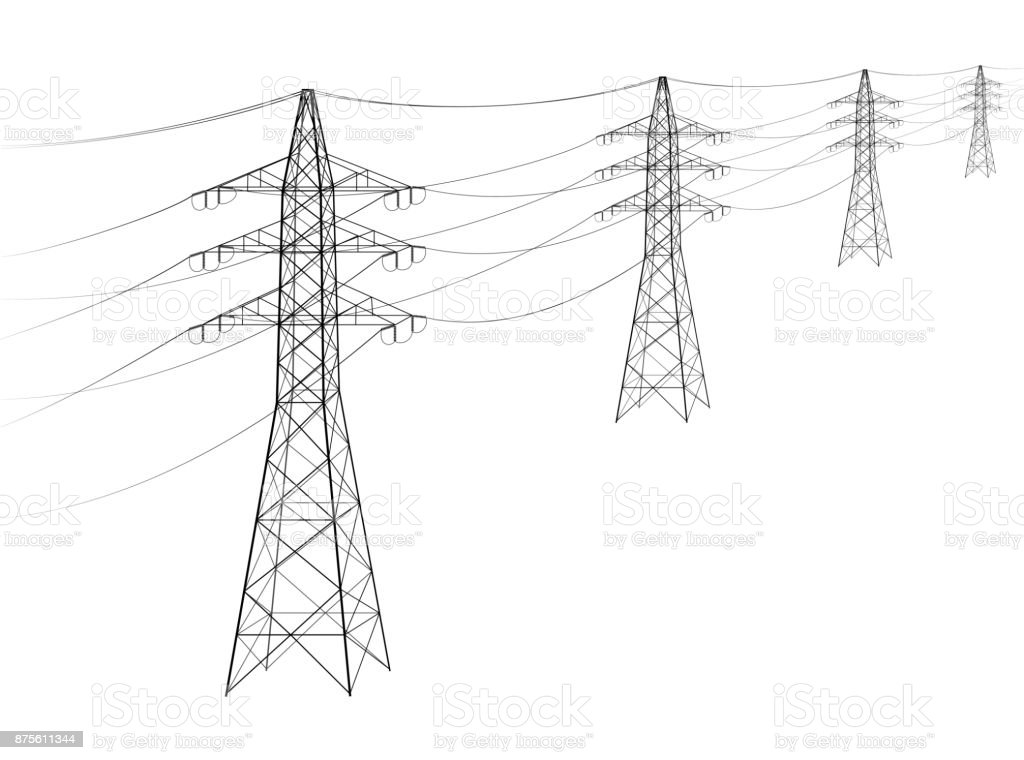 Overhead power line. A number of electro-eaves departing into the distance. Transmission and supply of electricity. Procurement for an article on the cost of electricity or construction of lines. vector art illustration