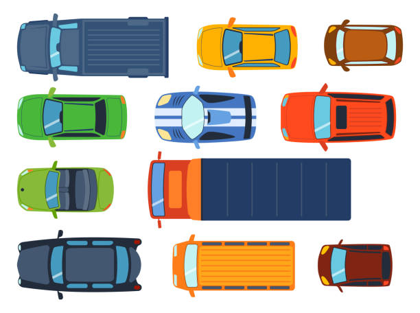 Overhead top view on colorful car toys different pickup automobile transport and collection wheel transportation design vector illustration vector art illustration