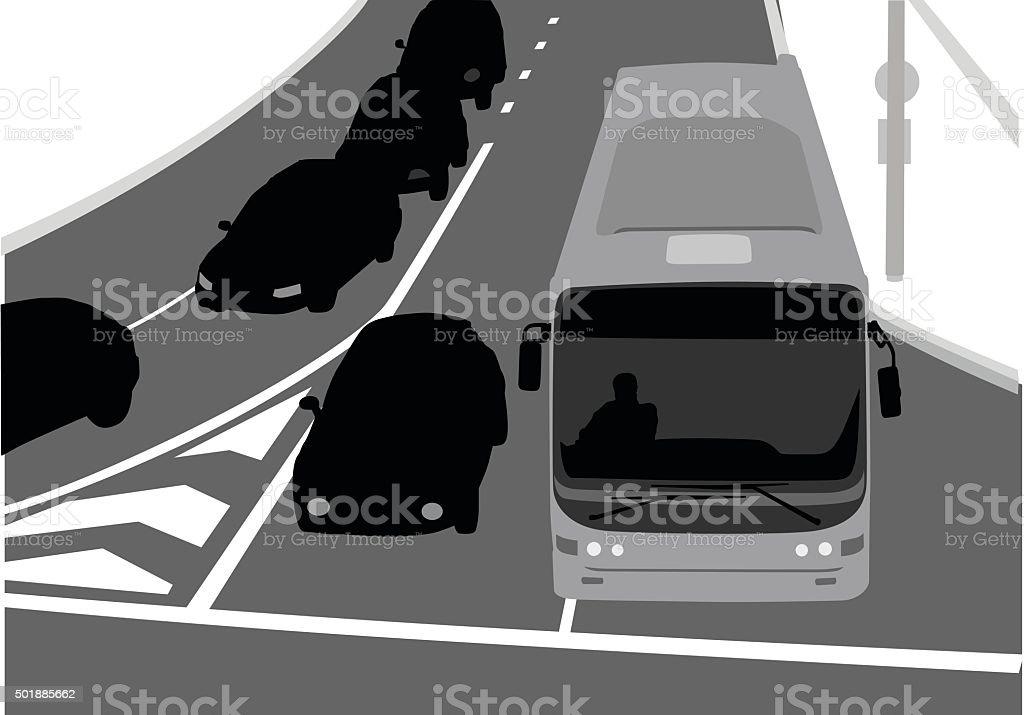 オーバヘッド、にぎやかな通りの眺め ベクターアートイラスト