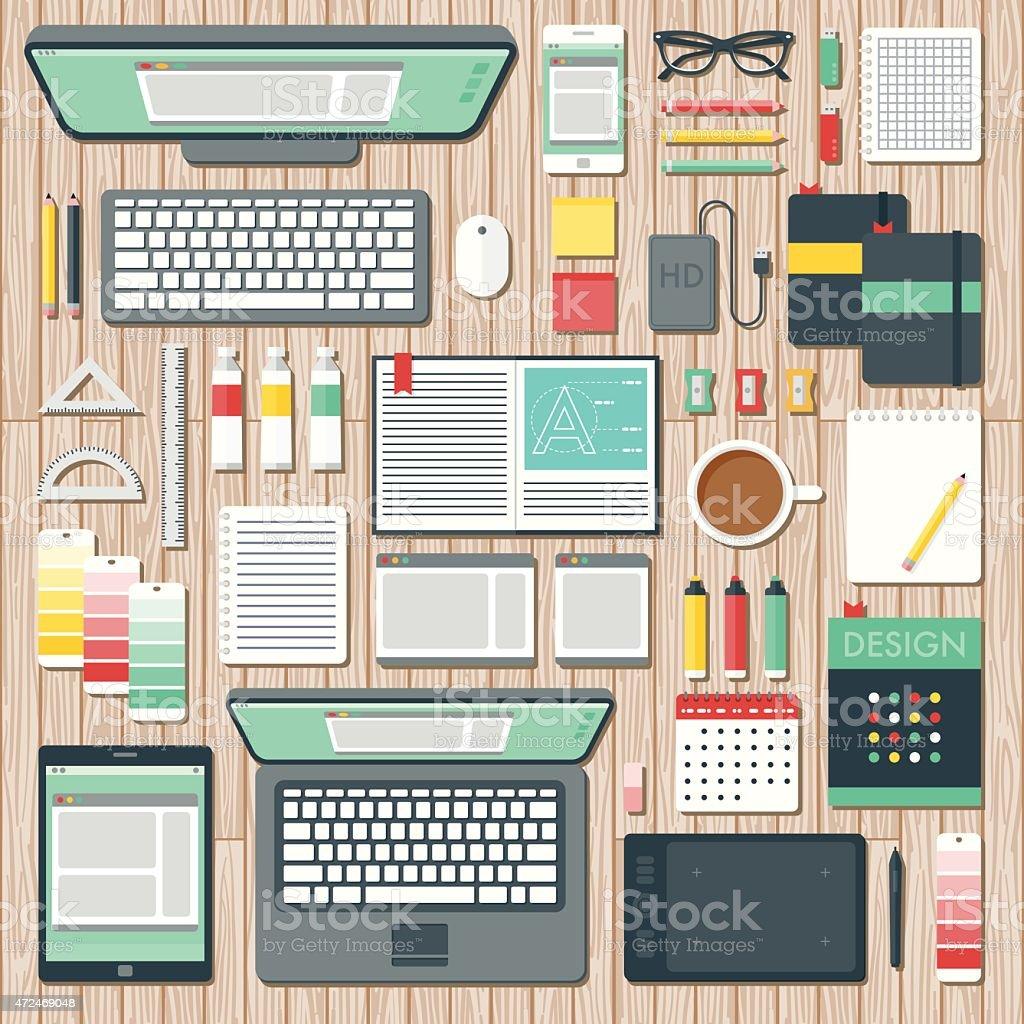 Vue aérienne d'un graphiste s'espace de bureau - Illustration vectorielle
