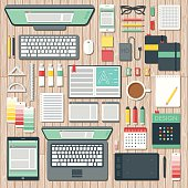 Overhead View of a Graphic Designer's Desk Space