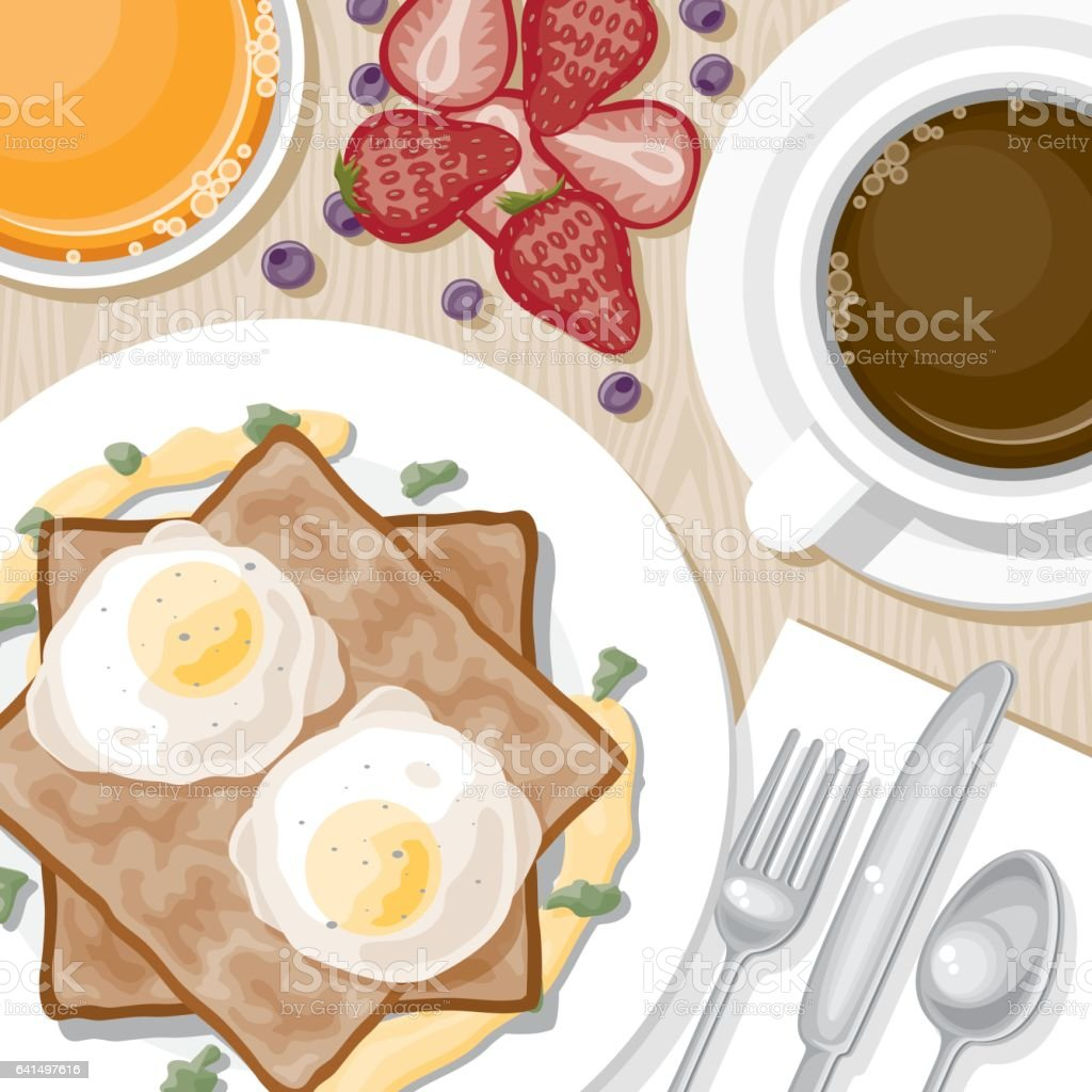 Overhead View of Breakfast Foods vector art illustration