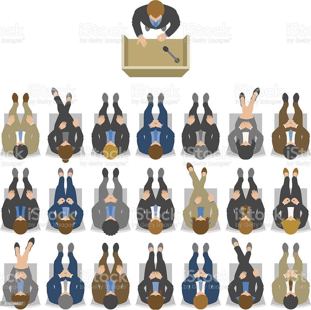 Overhead view of business meeting, seminar or conference vector art illustration