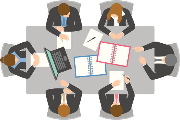 stockillustraties, clipart, cartoons en iconen met overhead view of business meeting - overhemd en stropdas
