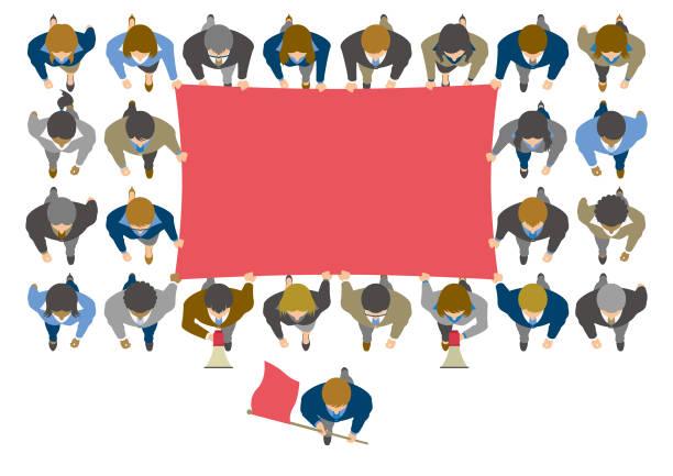 ilustrações de stock, clip art, desenhos animados e ícones de overhead view of business people protesting with blank flag - greve