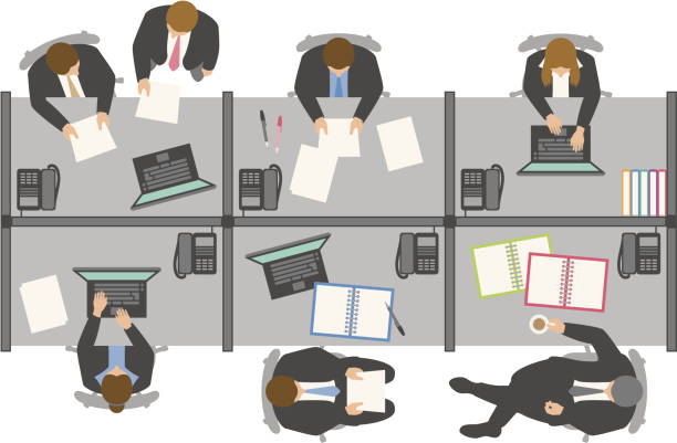stockillustraties, clipart, cartoons en iconen met overhead view of business people working in office - overhemd en stropdas