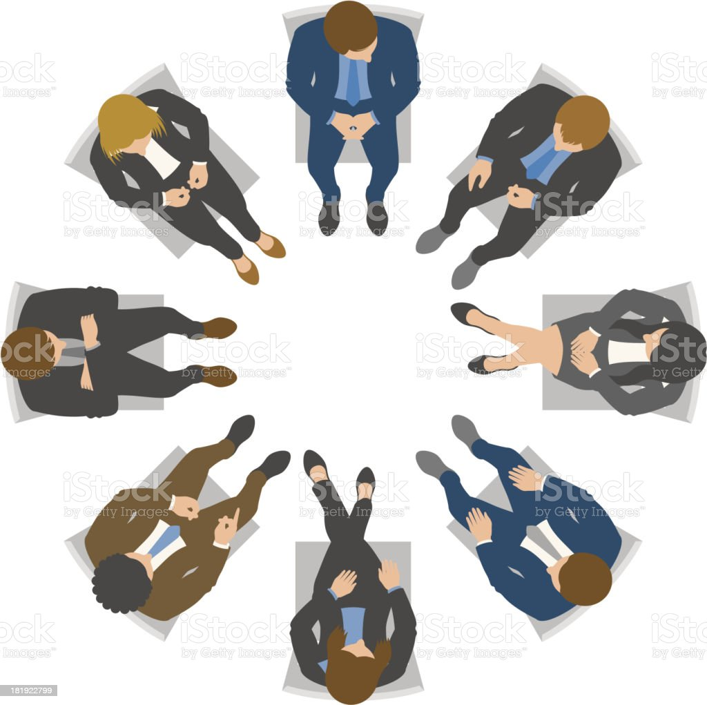 Overhead view of business team meeting vector art illustration