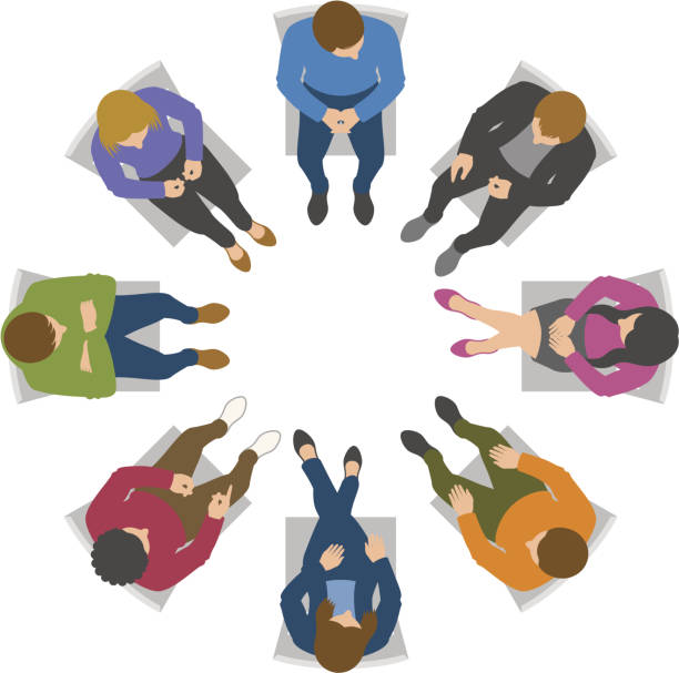 stockillustraties, clipart, cartoons en iconen met overhead view of group discussion - overhemd en stropdas