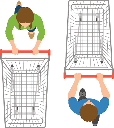 Overhead view of man and woman pushing empty trolleys