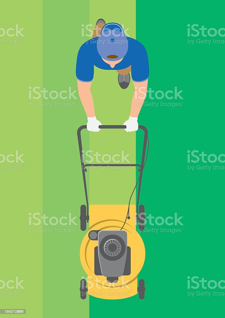 Overhead view of man mowing lawn vector art illustration