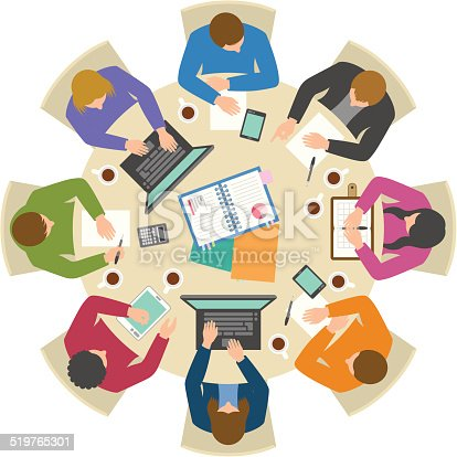 istock Overhead view of people discussing at round table 519765301