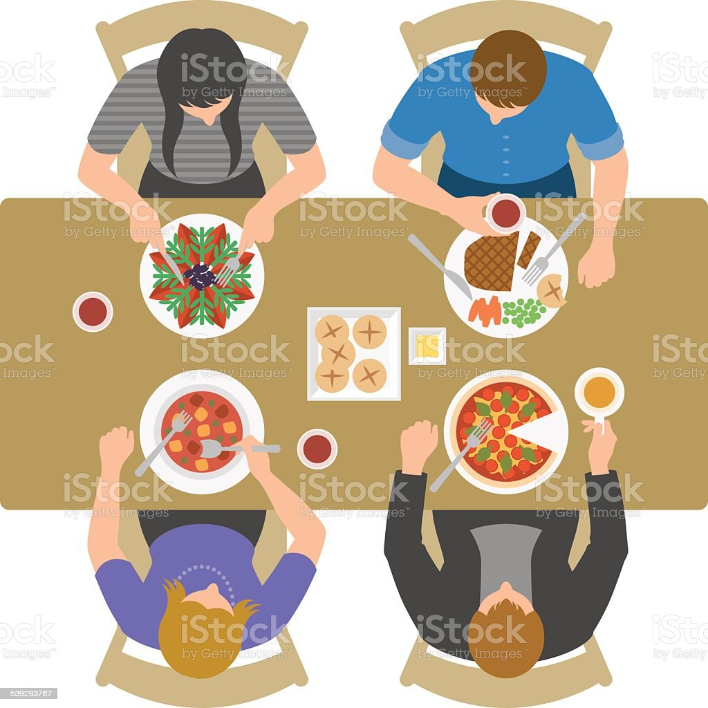 Overhead view of people having lunch and talking at restaurant vector art illustration