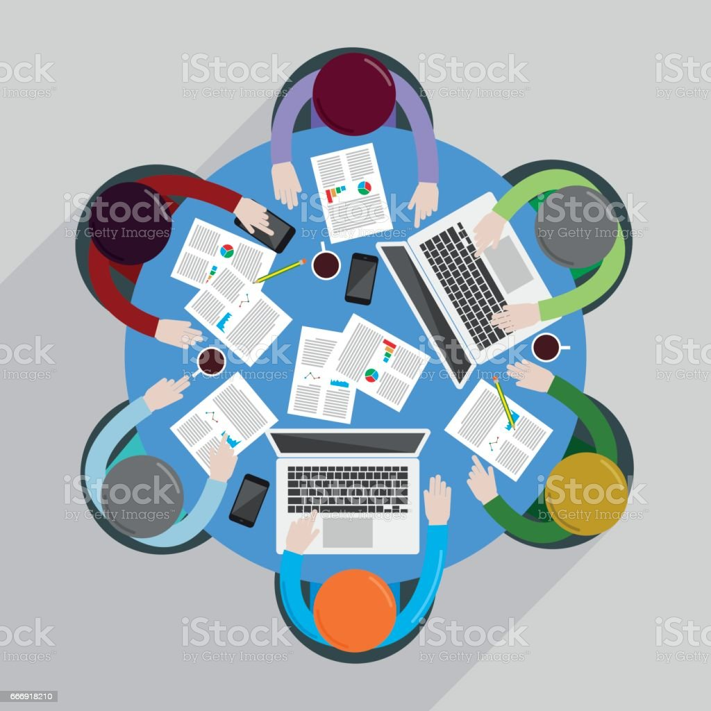 Overhead view of people vector art illustration