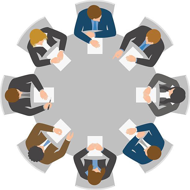 blickwinkel der runde tisch meeting - meeting stock-grafiken, -clipart, -cartoons und -symbole