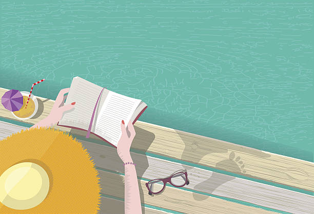 overhead view on woman with hat reading at pool vector art illustration