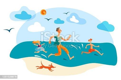 istock Overjoyed father and children having fun on beach 1251536878