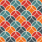 Overlapping circles abstract background. Petals motif. Seamless pattern with classic sacred geometric ornament. Tender digital paper, textile print, page fill. Vector art