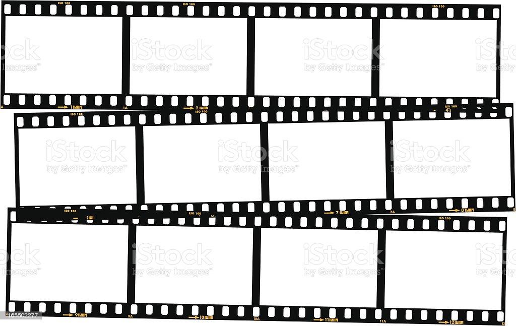 Overlapping film strips - colour vector art illustration