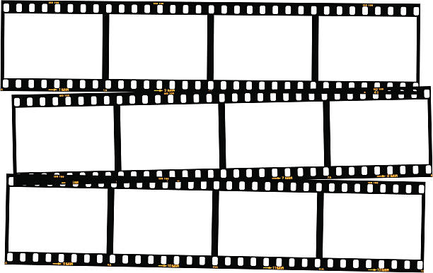 Overlapping film strips - colour Overlapping film strips. 20th century style stock illustrations