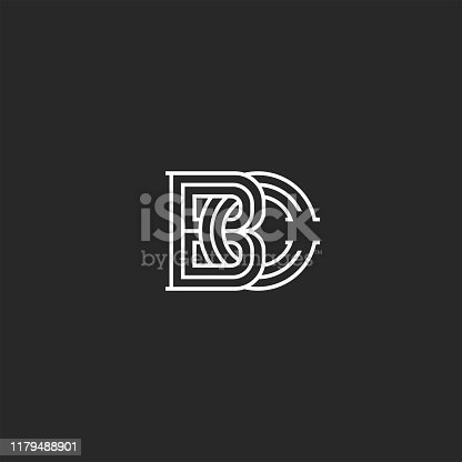 istock Overlapping of two letters B and C creative linear monogram BC initials in medieval black and white thin lines styles 1179488901