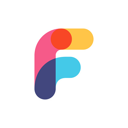 Overlapping one line letter F logotype.