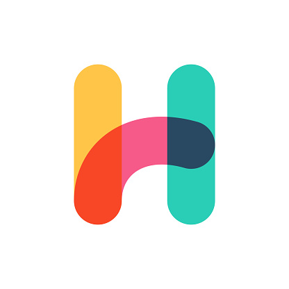 Overlapping one line letter H logotype.