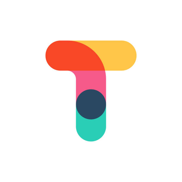 Overlapping one line letter T logotype. Curve rounded font. Vibrant glossy colors. letter t stock illustrations