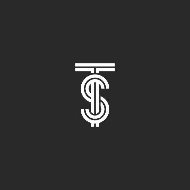 Overlapping TS or ST initials logo monogram black and white parallel lines intersection shapes, combination two letters T and S old stylish wedding emblem Overlapping TS or ST initials logo monogram black and white parallel lines intersection shapes, combination two letters T and S old stylish wedding emblem letter t stock illustrations