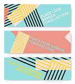 Three geometric vector banner templates with overlapping stripes and blocked colors in yellow, pink, turquoise blue and red; including space for copy text.