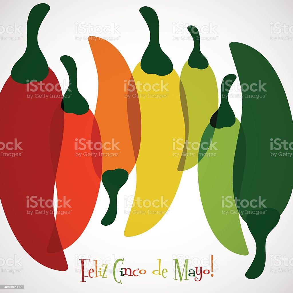 Overlay chilli pepper Cinco de Mayo card in vector format. vector art illustration
