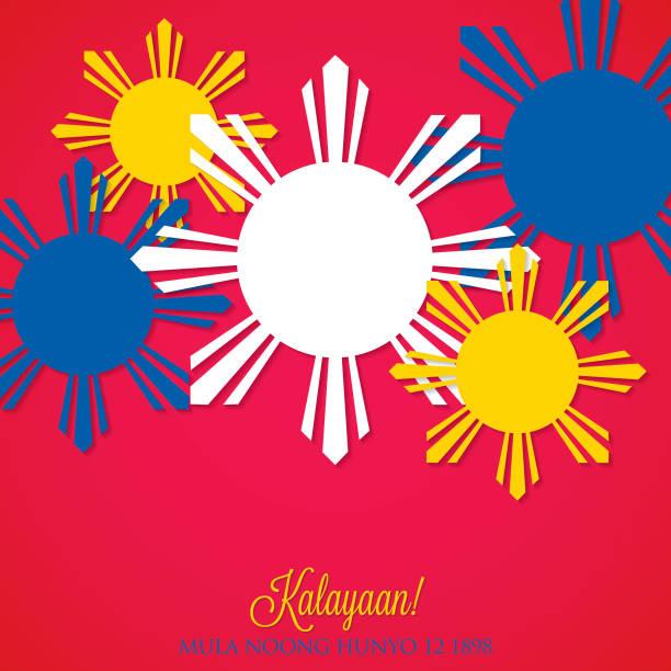 stockillustraties, clipart, cartoons en iconen met overlay filipijnse onafhankelijkheidsdag kaart in vectorformaat. - filipijnen