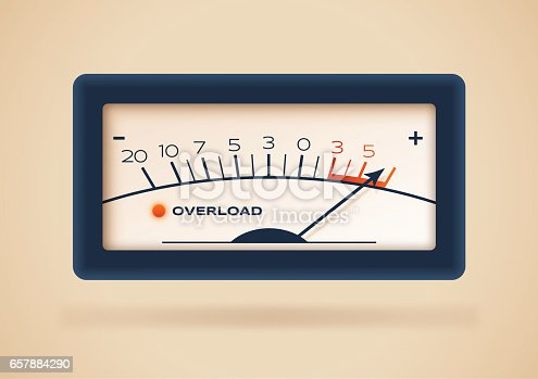 Overload retro gauge concept illustration.