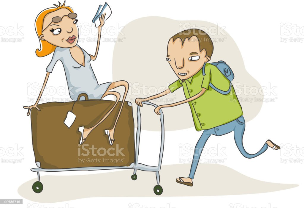 overloaded baggage cart royalty-free stock vector art