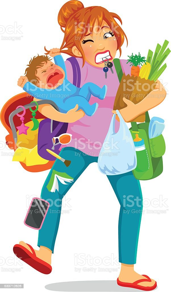 overloaded mom vector art illustration