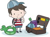illustration of a boy with luggage for a holiday on beach