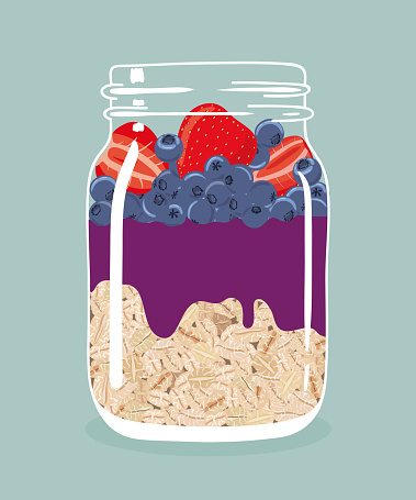 Overnight oats with strawberries, blueberries and acai smoothie in glass mason jar. Vector hand drawn illustration.