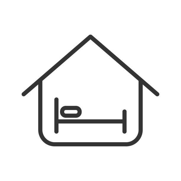 overnight stay vector icon overnight stay house outline ui web icon. overnight stay house vector icon for web, mobile and user interface design isolated on white background sheltering stock illustrations