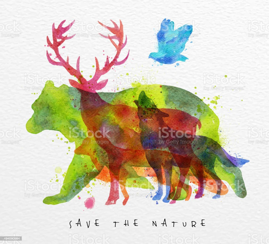 Overprint animals bear vector art illustration