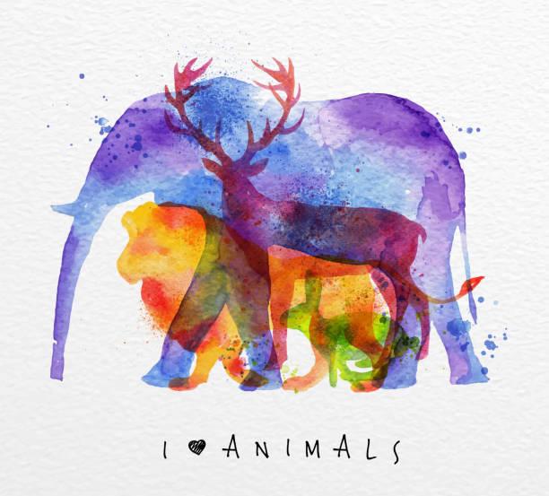overprint 動物の象 - 野生動物旅行点のイラスト素材/クリップアート素材/マンガ素材/アイコン素材