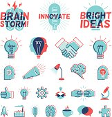 A collection of icons and graphics representing bright ideas in a vintage overprint style.