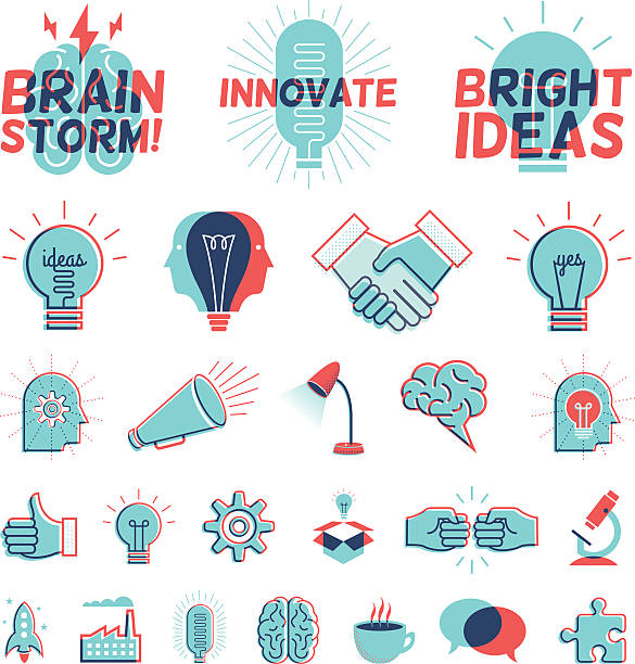 overprint graphics - bright ideas - double exposure stock illustrations
