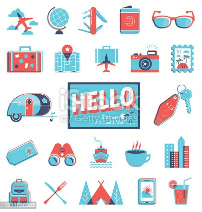 A collection of icons and graphics representing travel in a vintage overprint style.